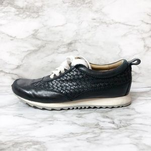 Robert Zur Black Leathered Woven Tie Sneakers